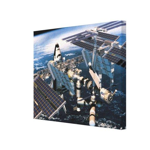 Transbordador espacial atracado impresión en lona estirada