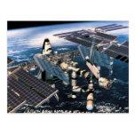 Transbordador espacial atracado tarjeta postal