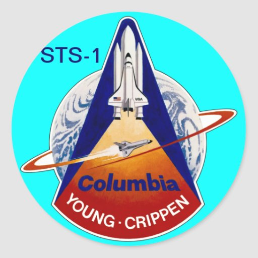 TRANSBORDADOR ESPACIAL DE LA NASA STS-2 PEGATINA REDONDA