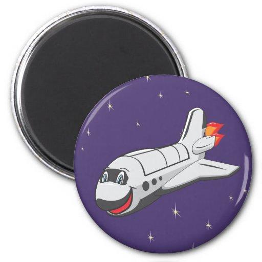 Transbordador espacial del dibujo animado imán redondo 5 cm