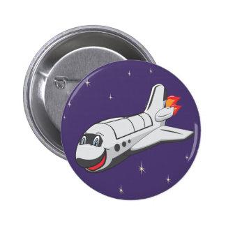 Transbordador espacial del dibujo animado pin redondo 5 cm