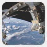 Transbordador espacial la Atlántida y una nave Pegatina Cuadradas Personalizadas
