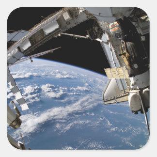 Transbordador espacial la Atlántida y una nave Pegatina Cuadrada