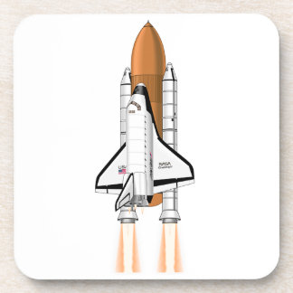 Transbordador espacial que empuja en espacio posavaso
