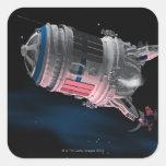 Transbordador espacial que está en órbita Marte Calcomanías Cuadradass
