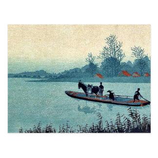 Transbordador por Uehara, Konen Ukiyoe Tarjeta Postal