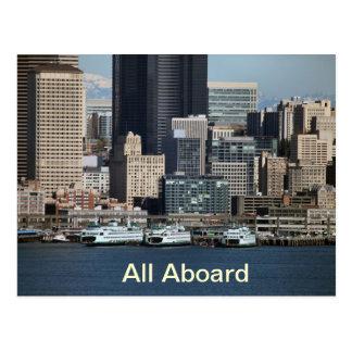 Transbordador que aterriza el terminal de Seattle Tarjetas Postales