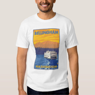 Transbordador y montañas - Bellingham, Washington Polera