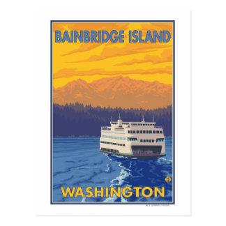Transbordador y montañas - isla de Bainbridge, WA Tarjeta Postal
