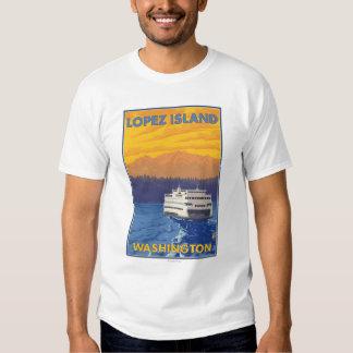 Transbordador y montañas - isla de López, Playera