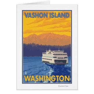 Transbordador y montañas - isla de Vashon, Tarjeta De Felicitación