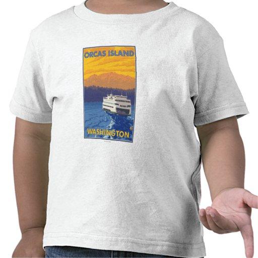 Transbordador y montañas - orcas isla, Washington Camiseta