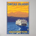 Transbordador y montañas - orcas isla, Washington Póster