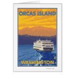 Transbordador y montañas - orcas isla, Washington Felicitación