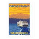 Transbordador y montañas - orcas isla, Washington Tarjeta Postal