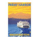 Transbordador y montañas - puerto de viernes, Wash Impresiones En Lona Estiradas