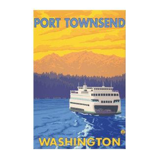 Transbordador y montañas - puerto Townsend, Washin Lona Envuelta Para Galerías