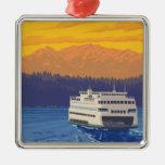 Transbordador y montañas - Seattle, Washington Adorno Navideño Cuadrado De Metal