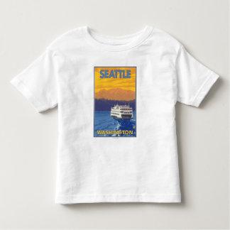 Transbordador y montañas - Seattle, Washington Camisas