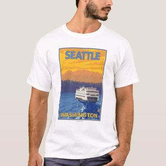 Transbordador y montañas - Seattle, Washington Playera