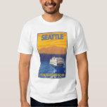 Transbordador y montañas - Seattle, Washington Playeras