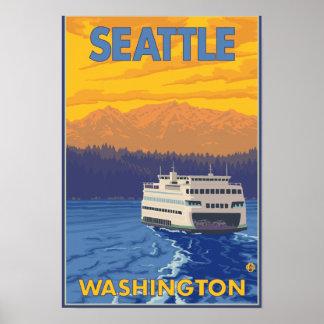 Transbordador y montañas - Seattle, Washington Póster