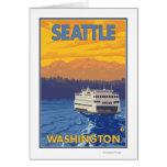 Transbordador y montañas - Seattle, Washington Tarjetón