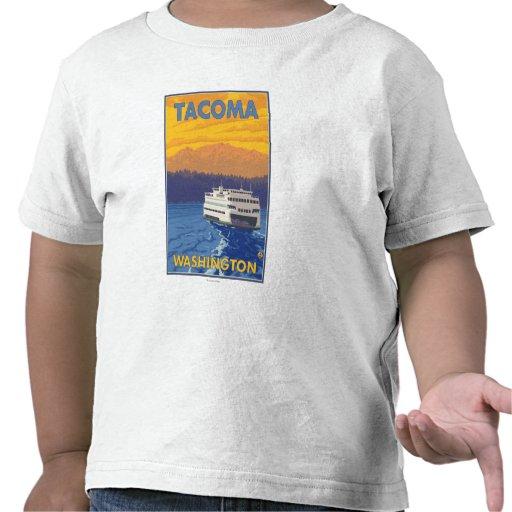 Transbordador y montañas - Tacoma, Washington Camisetas
