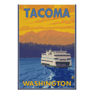 Transbordador y montañas - Tacoma, Washington Póster