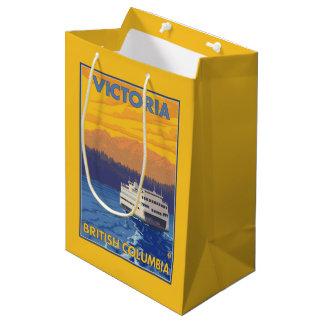 Transbordador y montañas - Victoria, A.C. Canadá Bolsa De Regalo Mediana