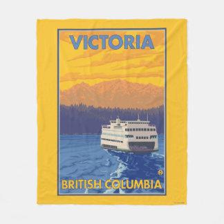 Transbordador y montañas - Victoria, A.C. Canadá Manta De Forro Polar