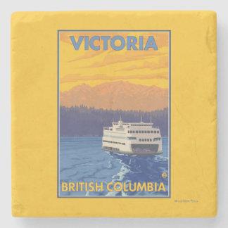 Transbordador y montañas - Victoria, A.C. Canadá Posavasos De Piedra