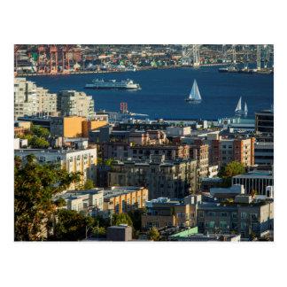 Transbordador y veleros en Puget Sound Tarjeta Postal