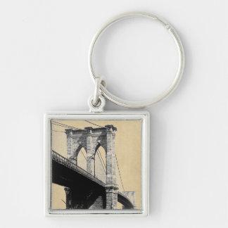 Transbordadores 1896 del puente de Brooklyn Llavero Cuadrado Plateado