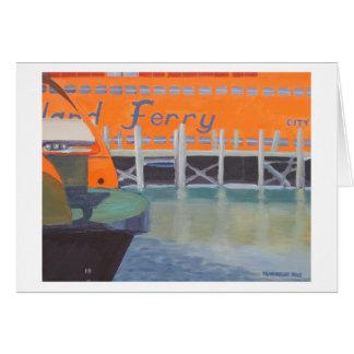 Transbordadores en muelle tarjeta de felicitación