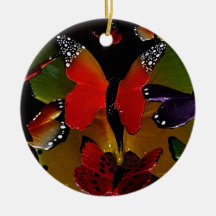 Transcendence butterflies Double-Sided ceramic round christmas ornament