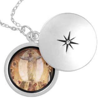 Transcendent  Christ Risen from the Tomb Round Locket Necklace