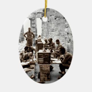 Transcribers in the Ruins Ceramic Ornament