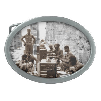 Transcribers in the Ruins Oval Belt Buckle