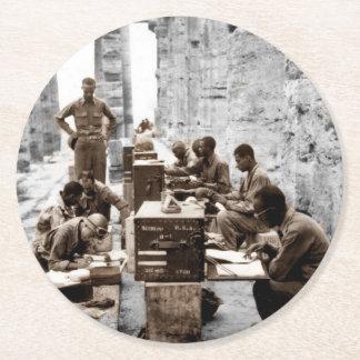 Transcription and Radio Operators in Ruins Round Paper Coaster