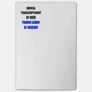 Transcriptionist médico de la leyenda de la pesca post-it® notas