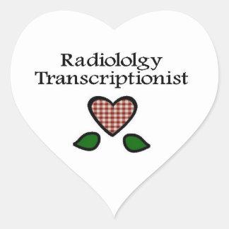Transcriptionist RGH de la radiología Pegatina En Forma De Corazón