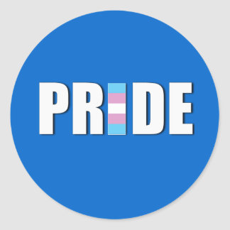 TRANSEXUAL PRIDE WORD FLAG ROUND STICKERS