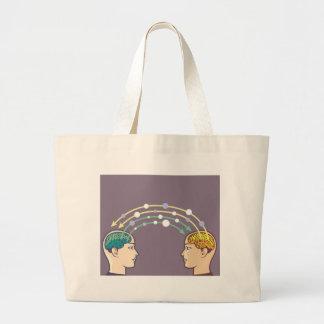 Transfer of information between minds large tote bag