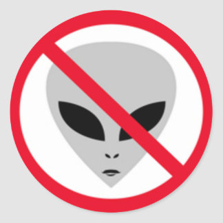 TRANSFER STOP UFOS CLASSIC ROUND STICKER