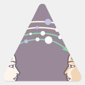 Transferencia de la información entre las mentes pegatina triangular