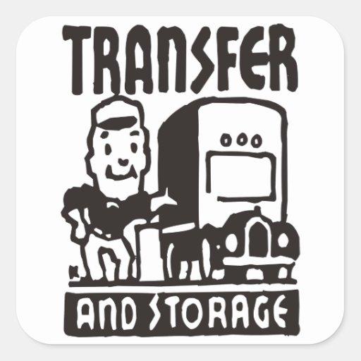 Transferencia y almacenamiento pegatina cuadrada
