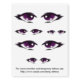 Transferencias púrpuras del diseño de los ojos y tatuajes temporales