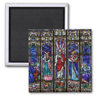 Transfiguración del arte del vitral del Jesucristo Iman De Frigorífico