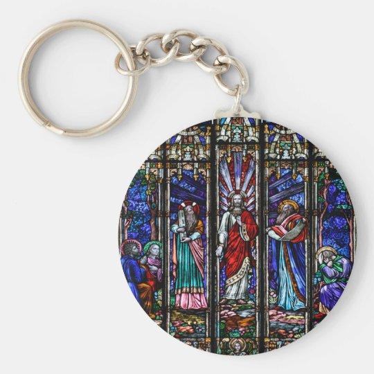 Transfiguration of Jesus Christ Stained Glass Art Keychain